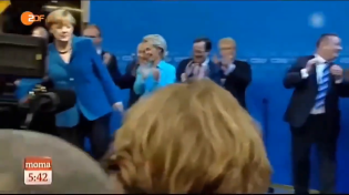 Thumbnail for Angela Merkel disgusted by German Flag - Throws it away at Victory Celebration of own Party